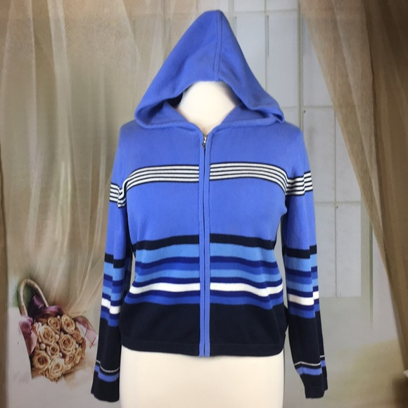 Liz Claiborne Jackets & Blazers - Liz Claiborne Blue Striped Knit Jacket